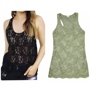 Aritzia Wilfred Free Green Madeline Lace Tank Top